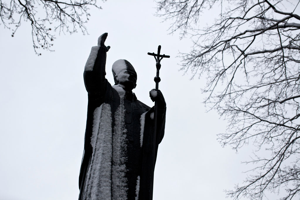 Zamosc, Poland - April, 2015. A statue of Pope John Paul II in Zamosc.
