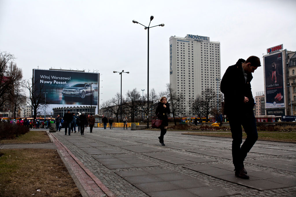Warsaw, Poland - February, 2015. A Western society sits in the frame of the old.