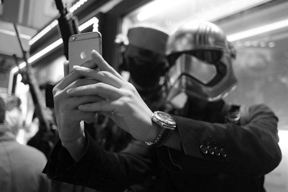 TOKYO, JAPAN - October 2015. Party goer dressed as Star Wars' character takes selfie.