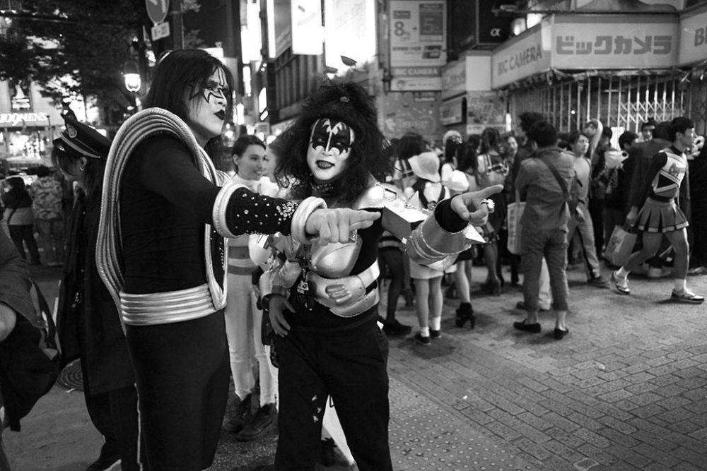 TOKYO, JAPAN - October 2015. Party goers dressed as Kiss band members.