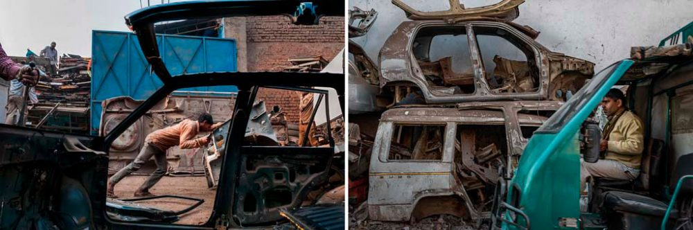 Image on Left - New Delhi, India: Men at work dismantling a vehicle at Mayapuri Scrap market. 3rd December, 2015. Image on Right - New Delhi, India: A mini truck runs past a pile of vehicles placed one on top of the other. 1st Feb, 2016.