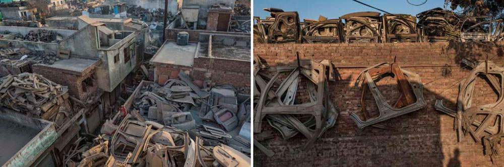 Image on Left - New Delhi, India: Car body parts piled on top of buildings for reselling. 2nd February, 2016. Image on Right - New Delhi, India: Car and other vehicle body parts meant for reselling hang from buildings. 1st February, 2016.