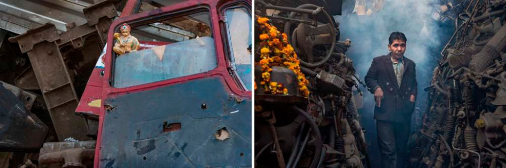 Image on Left - New Delhi, India: An idol of Lord Hanuman found between vehicular remains at a second hand parts shop. 3rd February, 2016. Image on Right - New Delhi, India: A migrant, Brijesh Yadav starts the day at the second hand parts shop among smoke from incense. 30th January, 2016.