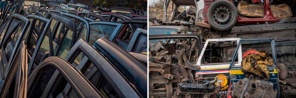 Image on Left - New Delhi, India: Stacks of car doors awaiting buyers. 1st February, 2016. Image on Right - New Delhi, India: All that is useful finds a display at a second hand parts shop. 29th January, 2016.