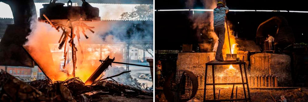 Image on Left - Baddi Industrial Area, India: A magnet drops metal waste into the furnace where it is melted. 6th February, 2016. Image on Right - Baddi Industrial Area, India: Molten Iron in the final stage of its recycling. 6th February, 2016.