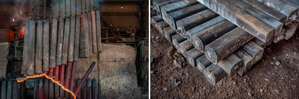 Image on Left - Baddi Industrial Area, India: Casts of recylced iron being lifted. 6th February, 2016. Image on Right - Baddi Industrial Area, India: Pig Iron - the final stage of recycling. 6th February, 2016.