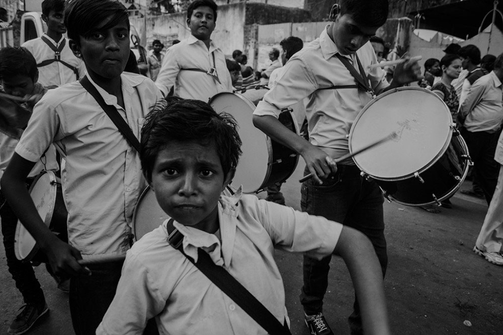 Howrah, India, February 2016, A band of street drummers playing in the procession