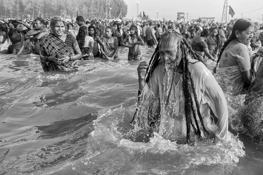 Gangasagar, West Bengal, 14th January'14 : A much awaited holy bath.