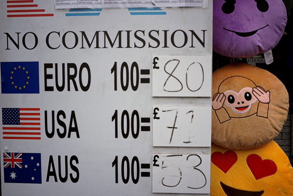 London, UK - Jun-July 2016. As an immediate effect, pound has fallen to levels not seen since 1985 following the UK's referendum, FTSE 100 index began the day with more than 8% fall.
