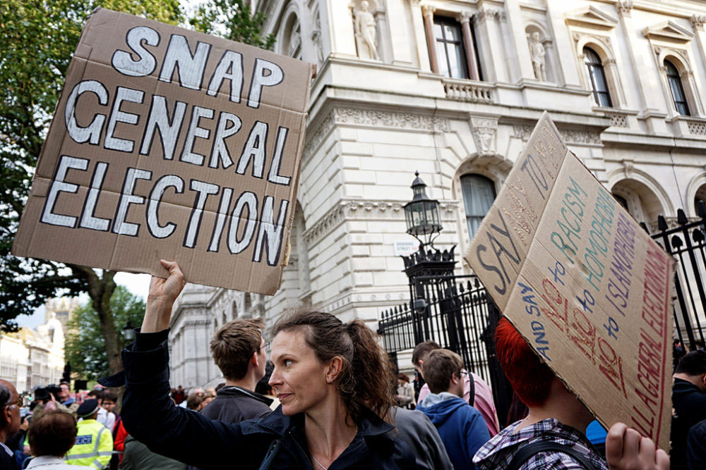 London, UK - Jun-July 2016. London has experienced huge demonstration from thousands of people who have marched through London to protest against the decision to leave the EU on July 2 near Parliament Square area of Westminster.