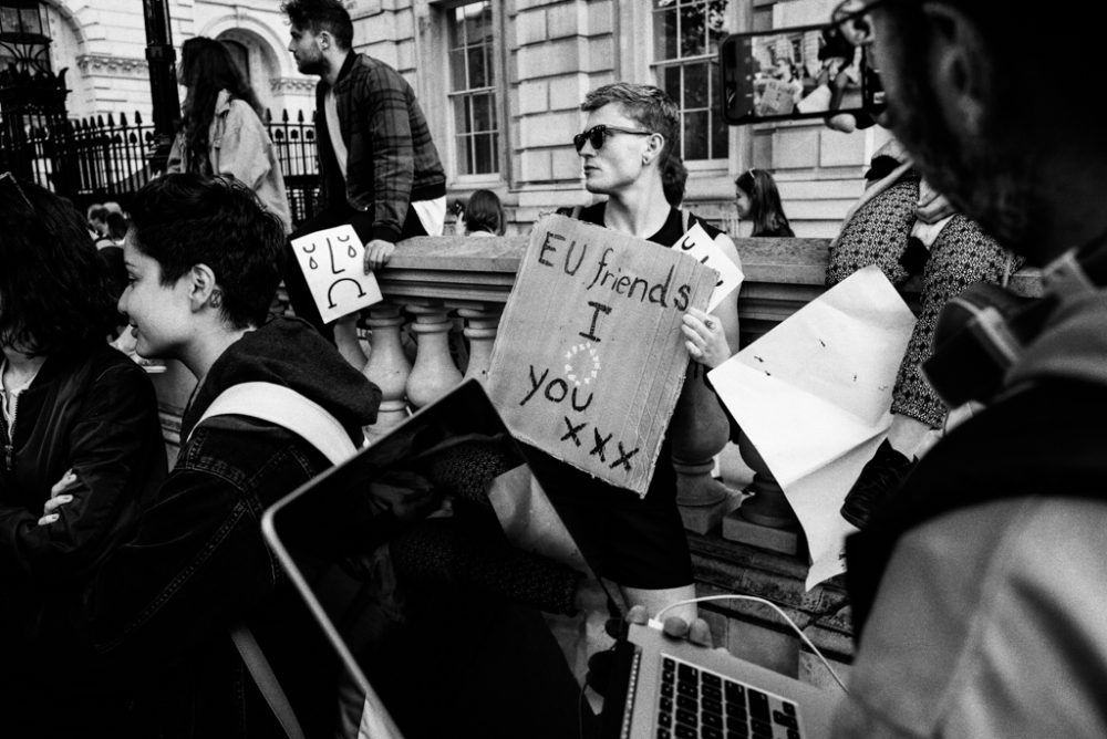 Whitehall, London, UK; 24 June, 2016. The prospect of ending free movement between the UK and the EU resonated poorly with many UK residents who value the relationships and job opportunities they have discovered abroad.
