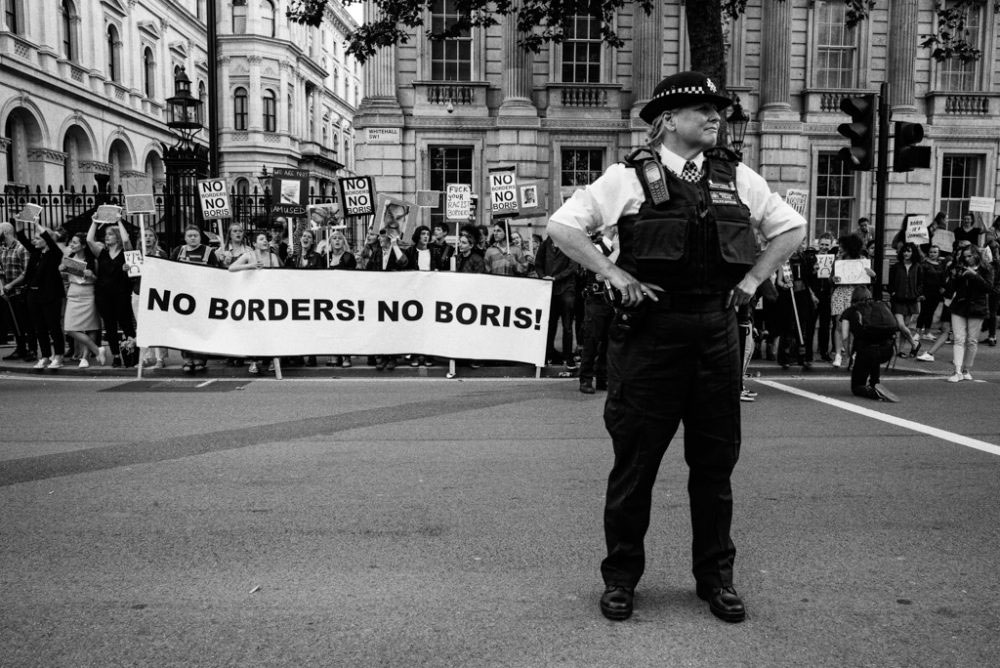 Whitehall, London, UK; 24 June, 2016. A key concern amongst protesters was the candidacy of Boris Johnson to succeed David Cameron as Prime Minister of the UK. The former mayor of London, Johnson has been repeatedly accused of holding dubious, opportunistic political agendas.