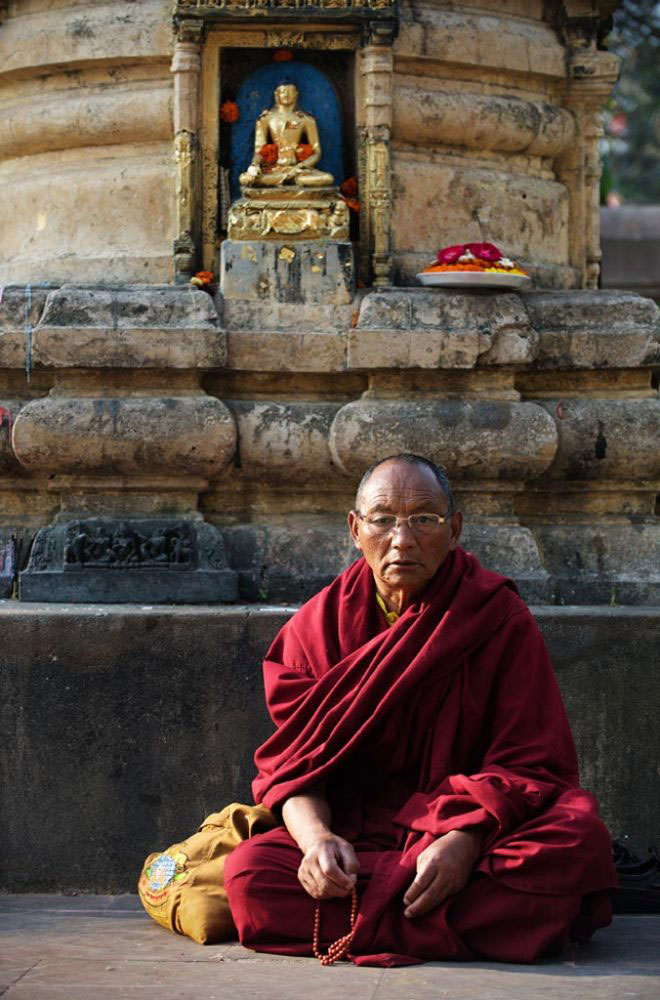 A monk was sitting in meditation near the Bodhi tree where the Buddha attained enlightenment. BodhGaya- India, March 2016