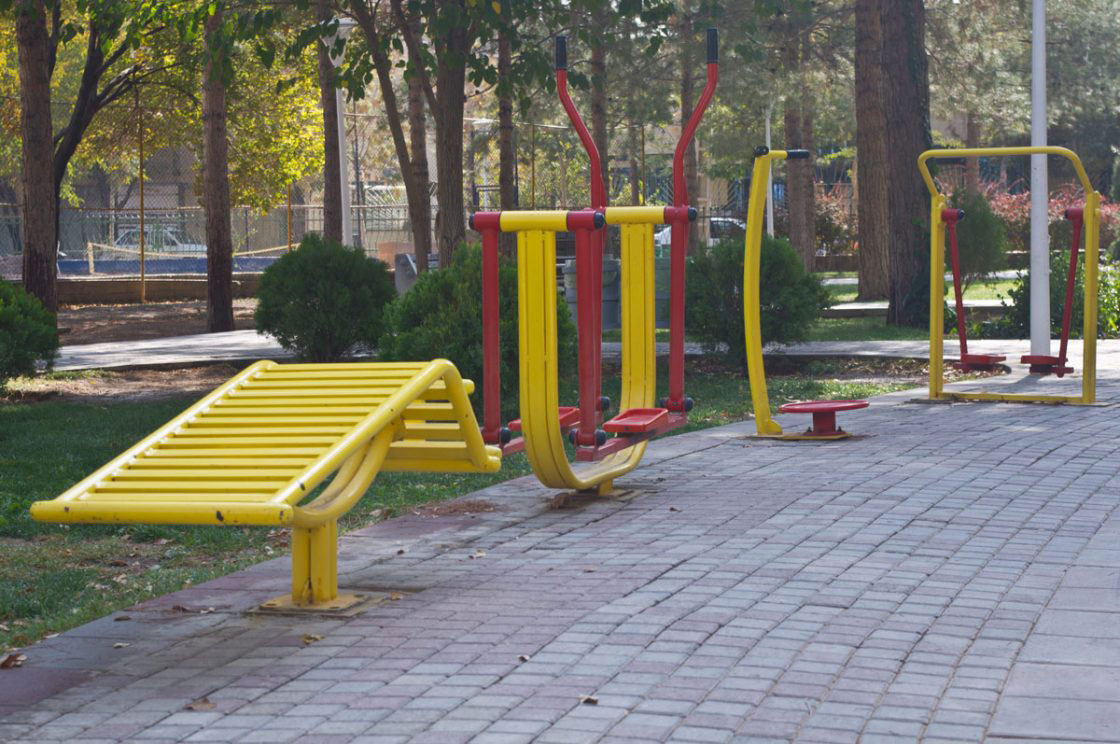 Tehran, Iran - November 2016. Sports gear in a public park.