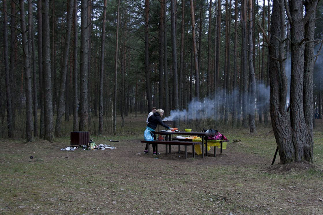 Daugavpils, Latvia - April 2016. Preparing a bbq.