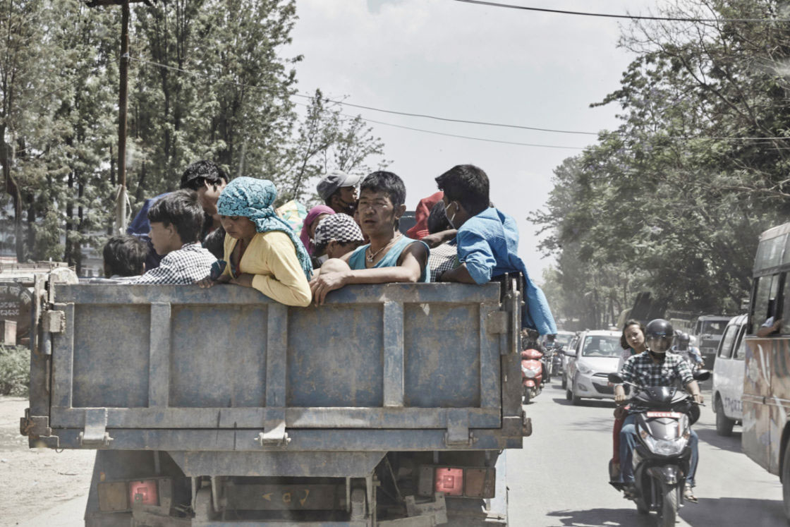 Displaced people arriving in the capital of Kathmandu