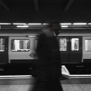 London Underground, London, August 2016, Man walks across in the platform